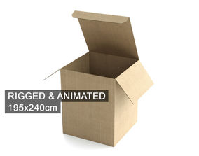 3D model Cardboard Box 195x240cm - Rigged and