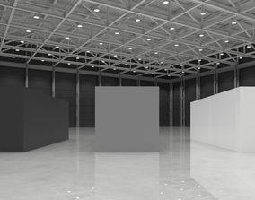modular warehouse pavilion interior 3D asset