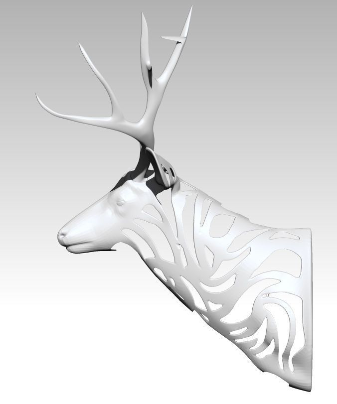 graphic relating to Printable Deer Head called Deer Thoughts Decoration Progressive Artwork 3D Print Type