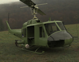 rigged 3d model huey helicopter