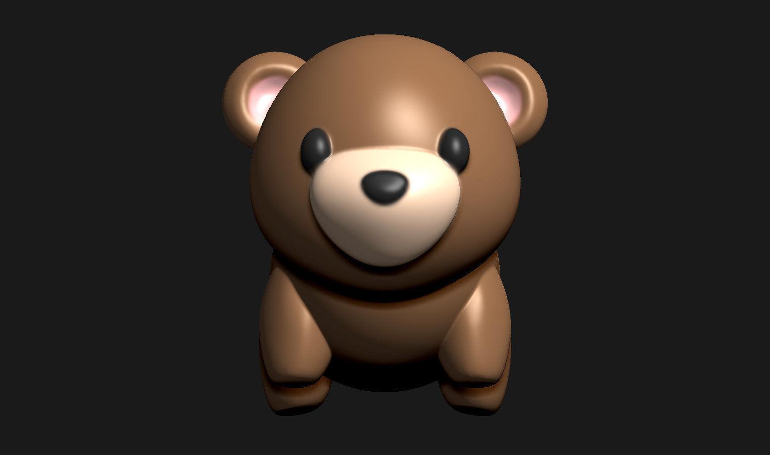 Teddy bear tiny figurine for 3D printing