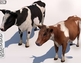 Cow Low Poly and High Ploy with Sound effects 3D model