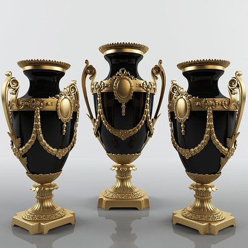 f9bb9bfc2b23 Classic Austrian Vase gold and black 3D model