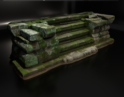 3d model scanned ancient stone stair game-ready realtime