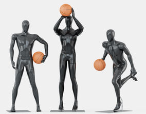 Three faceless mannequins basketball 29 3D model