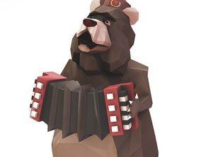 Soviet Circus Bear 3D model animated