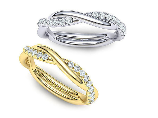 rope style diamond twisted band ring 3dmodel n0355  3d model stl 1