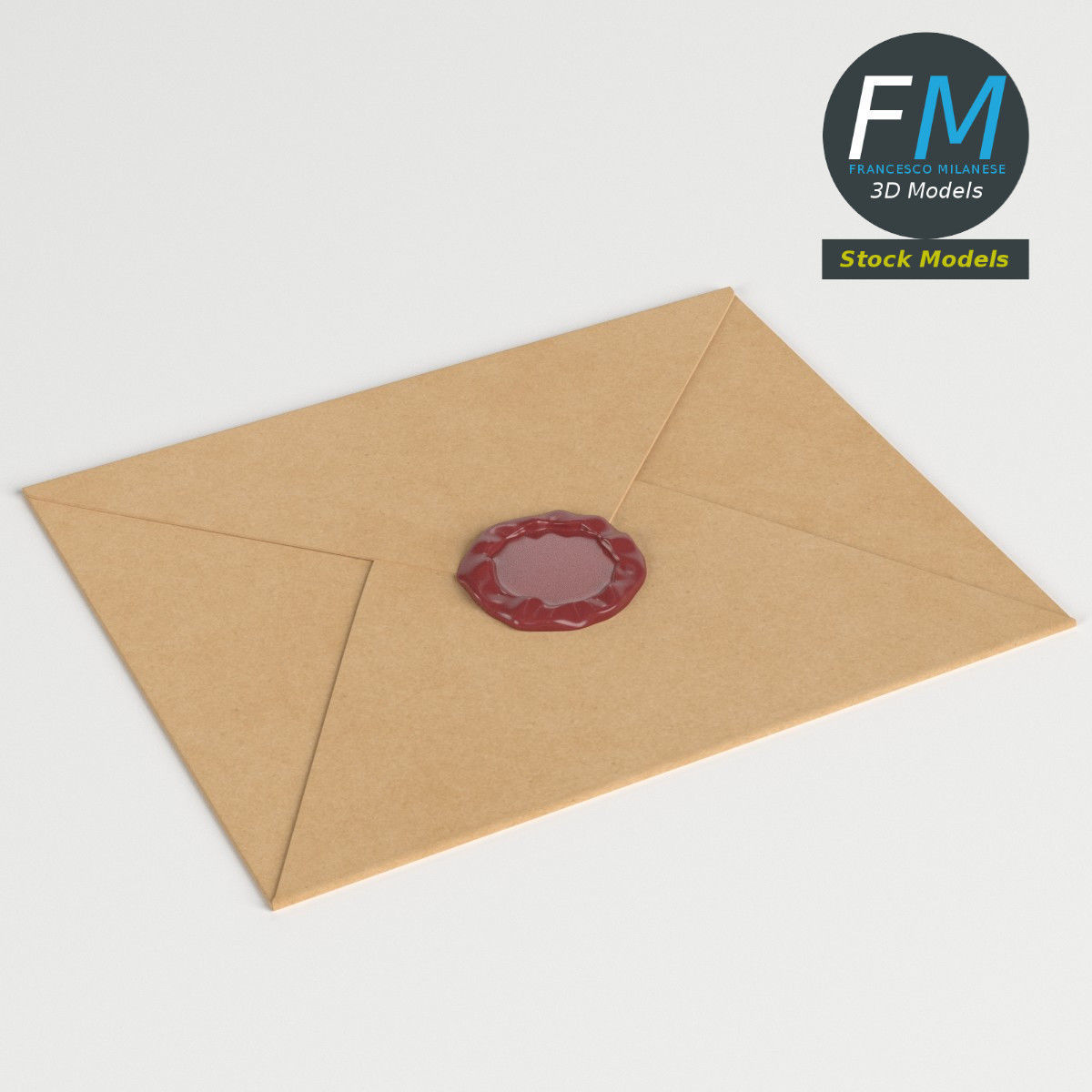 Closed envelope with sealing wax