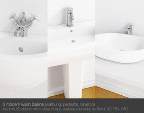 3D model 3 Modern wash basins - wallhung pedestal and 1