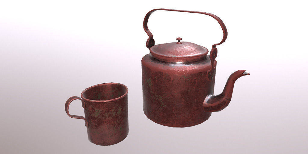 Old copper teapot and cup