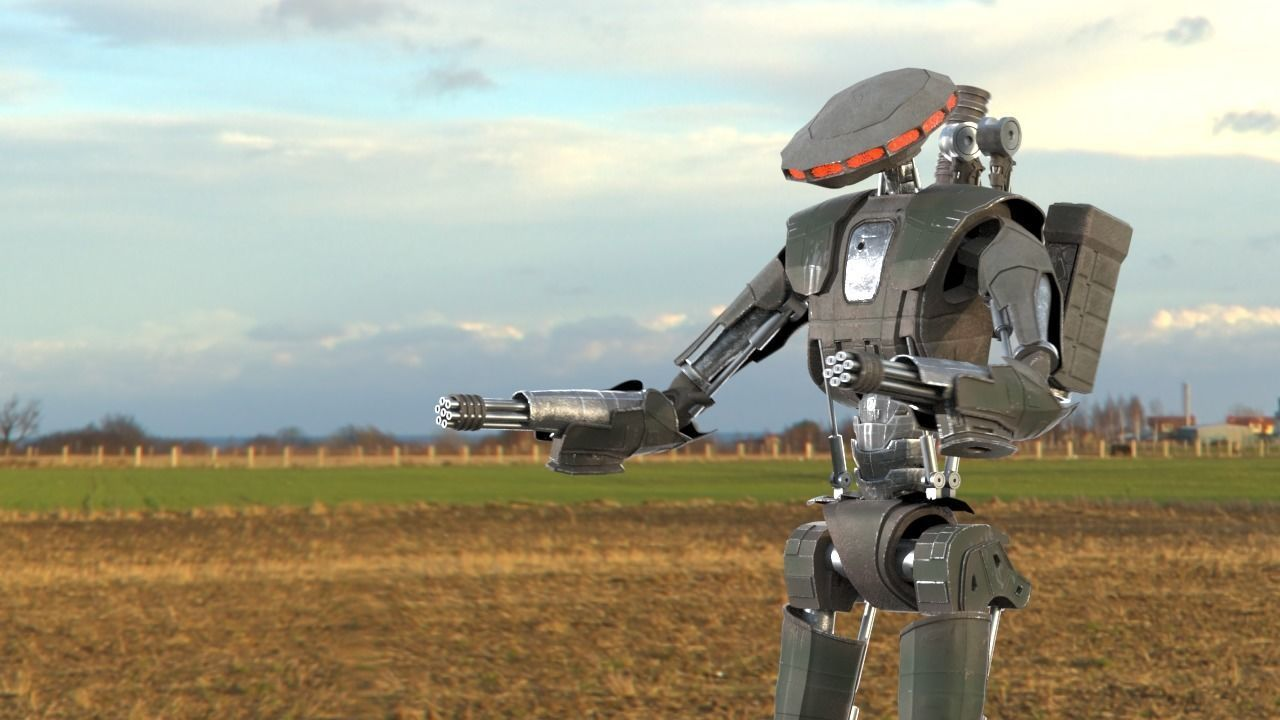 Robot Sky-Fi Riging model PBR texture