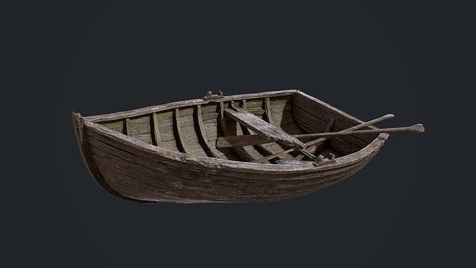 pbr old broken rowboat 3d model fbx ma mb tga 1