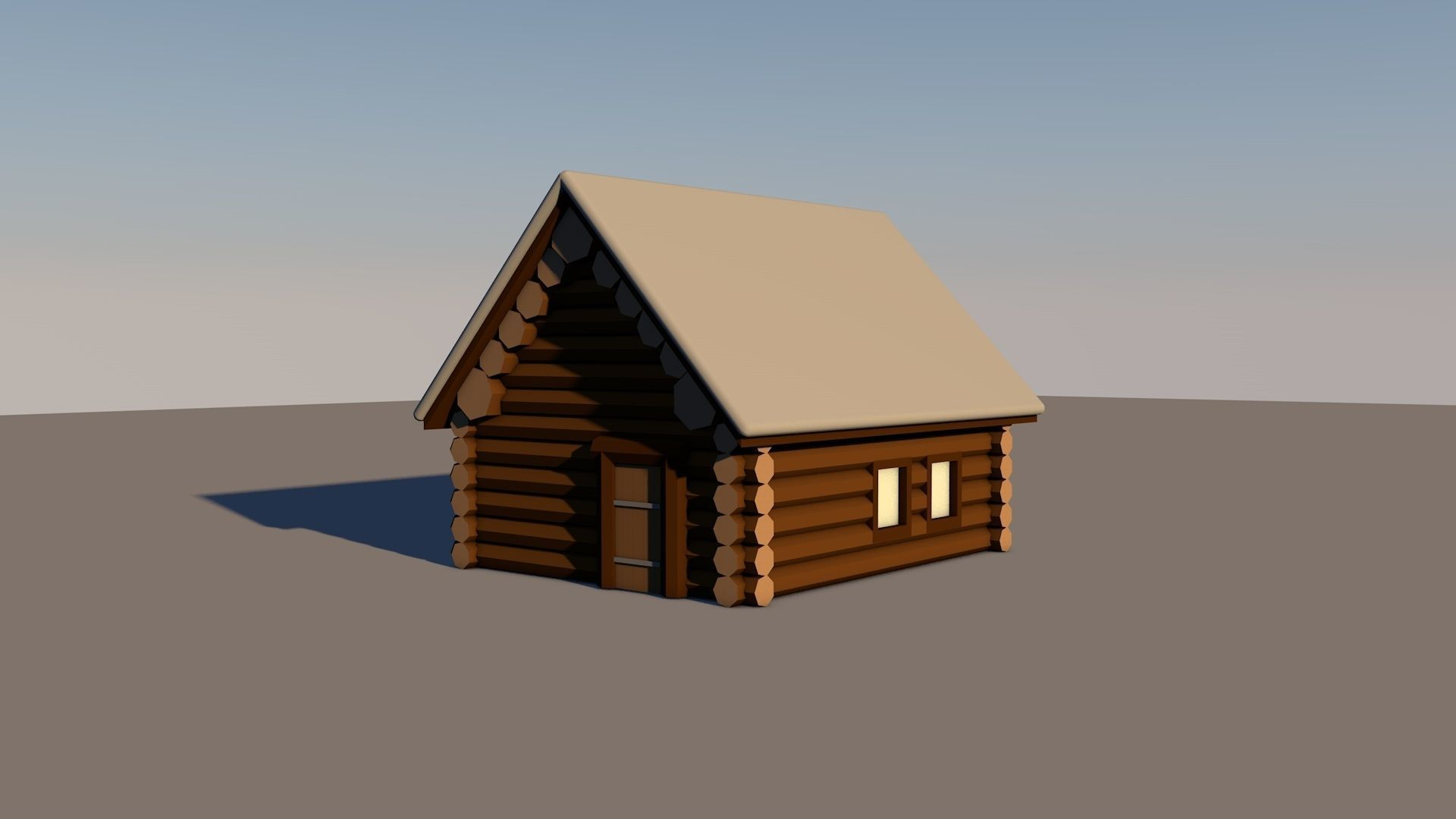 Wood hut in the winter under the snow lowpoly 3D model