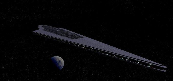 star wars - executor class star destroyer 3d model low-poly gltf glb 1