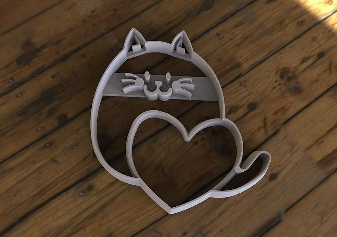cat with heart cookie cutter 3d model obj mtl stl 3mf 1