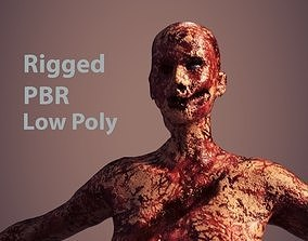 Zombie women Low poly PBR rigged 3D model