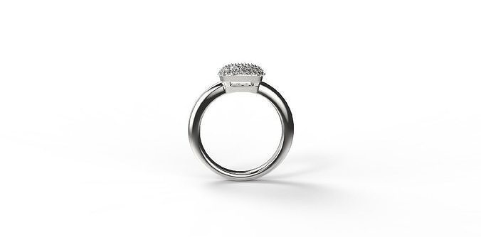 cushion shaped pave ring with thick shank 3d model obj mtl stl stp 1
