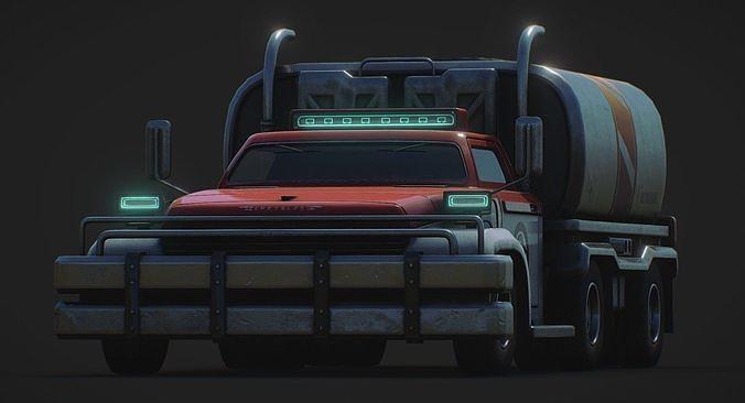 heavy duty tank fuel truck 3d model obj mtl fbx 1