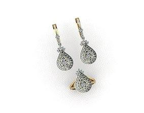 Ring-earrings-pear-drop 3D printable model