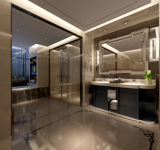 3d Bathroom Decorated With Marble Cgtrader
