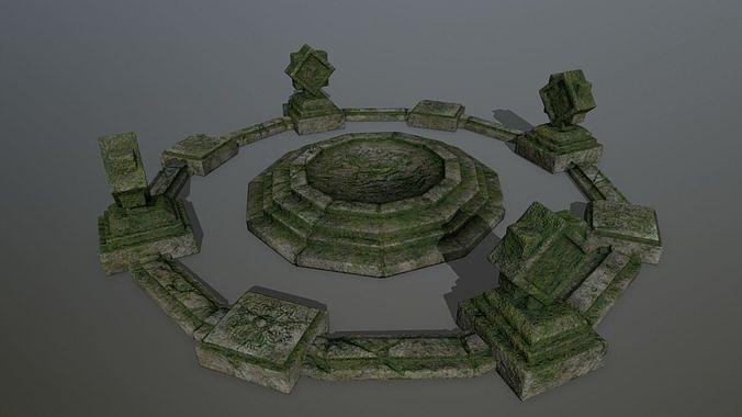 temple  3d model low-poly obj mtl fbx blend 1