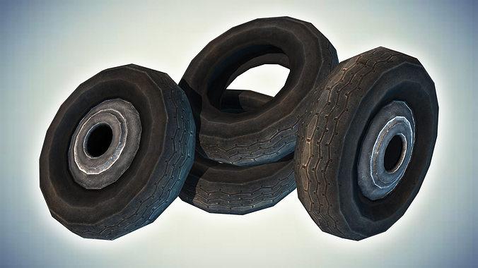 car tires 3d model low-poly max obj mtl 3ds fbx dae tga 1