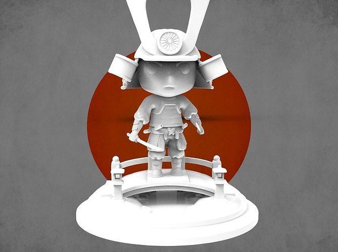mini samurai  3d model obj mtl stl 1