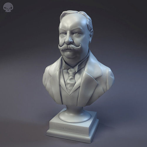 us president william howard taft bust v01 3d model obj mtl stl 1