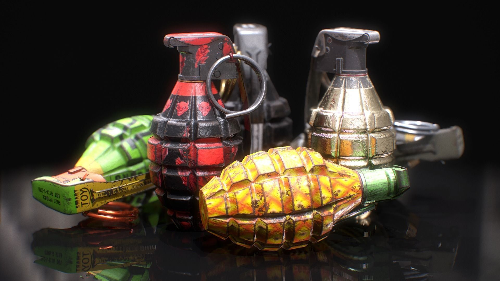 MK2 Grenade - Game ready - Low poly with 6 PBR texture sets
