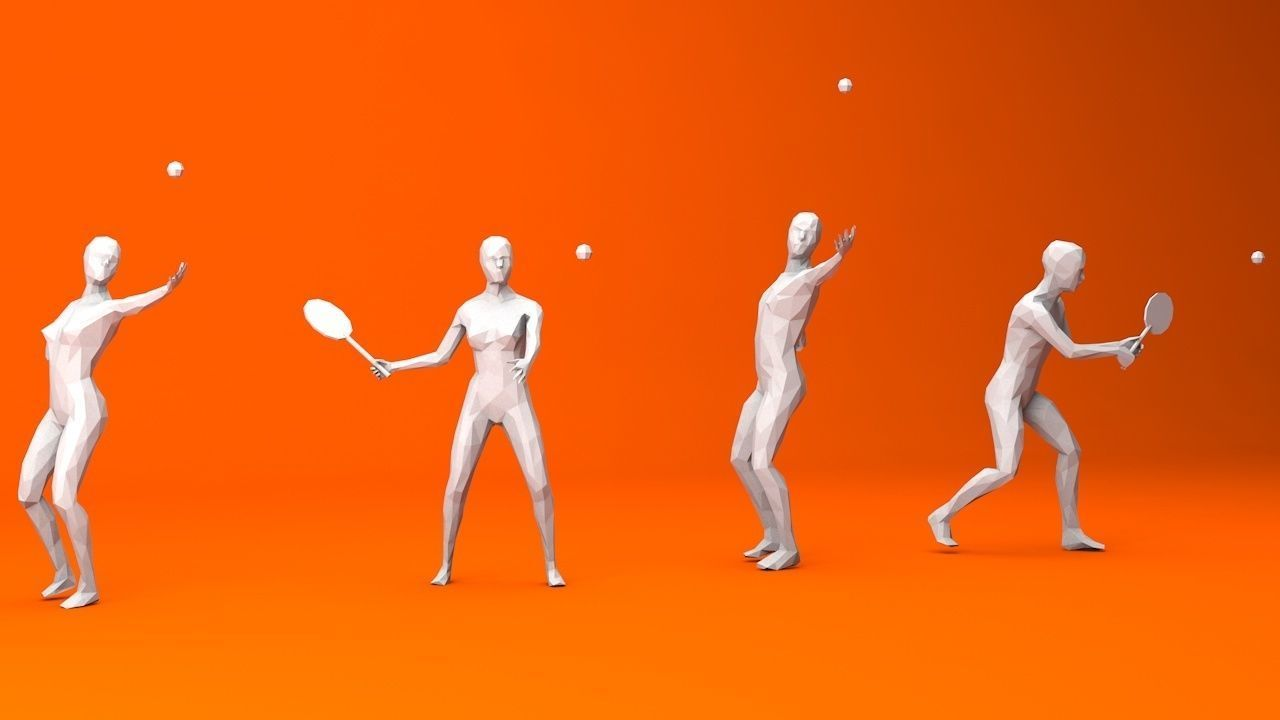 4 Tennis Player Lowpoly People
