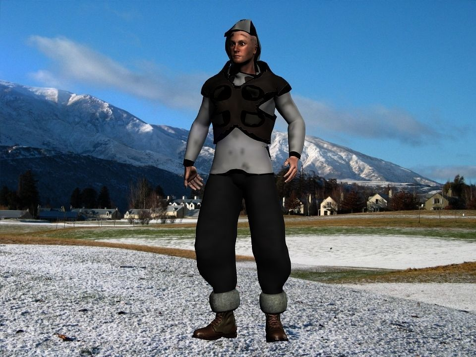 Fur vest tribal snow hunter