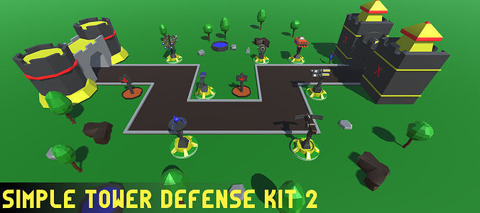 simple tower defense kit 2 3d model fbx unitypackage prefab 1
