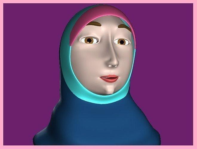 muslim woman 3d model low-poly ma mb 1