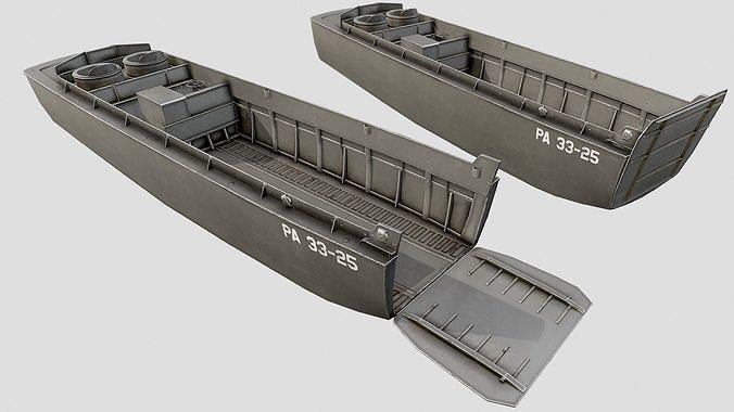 lcvp landing craft pbr 3d model max obj mtl 3ds fbx dae tga 1