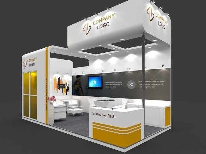 exhibition stall 3d model 6x3 mtr 2 sides open stand 3d model max 1