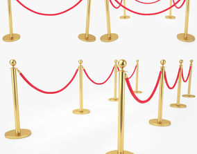 3D Red Velvet Rope Stanchion Set