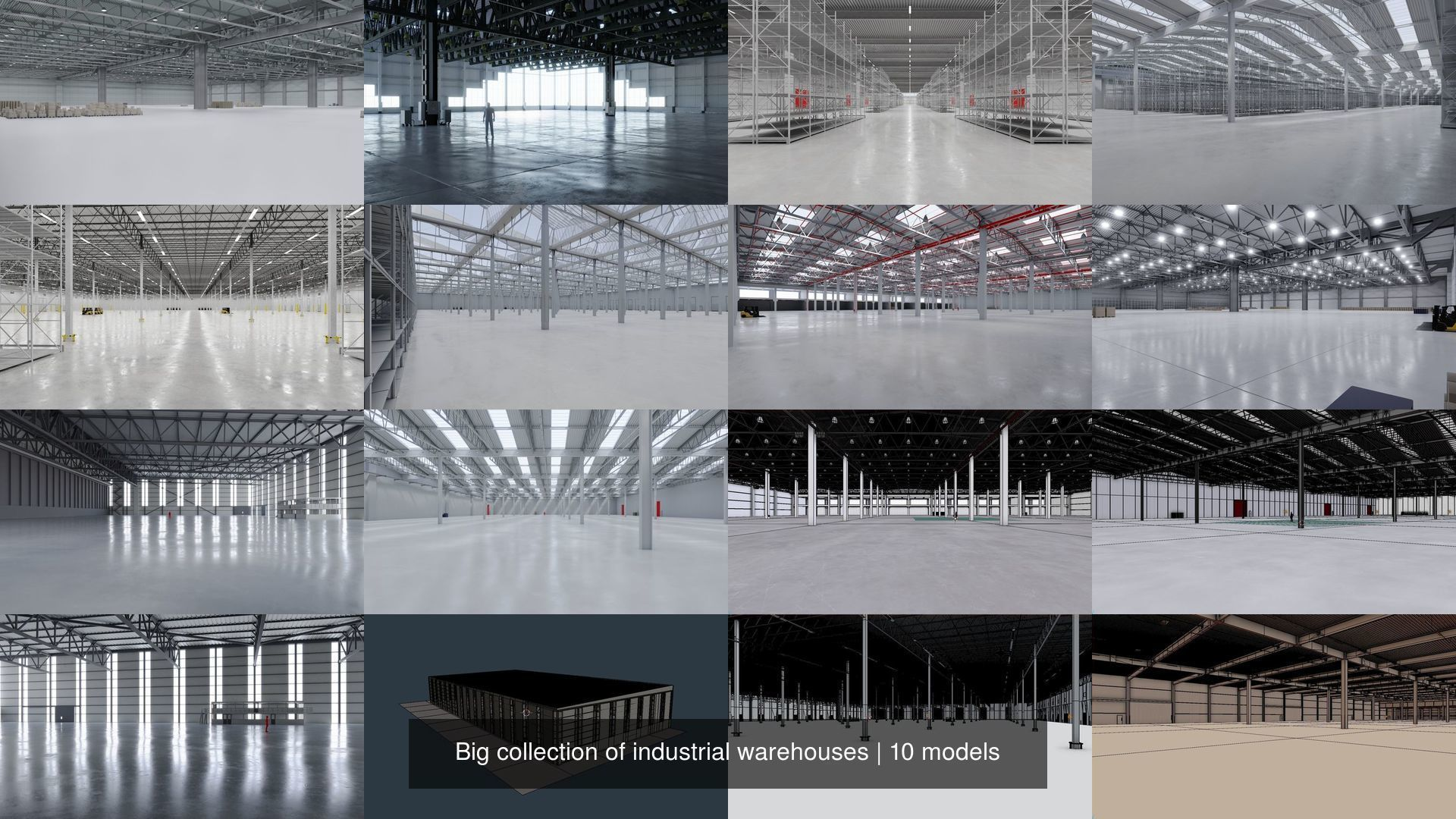 Big collection of industrial warehouses