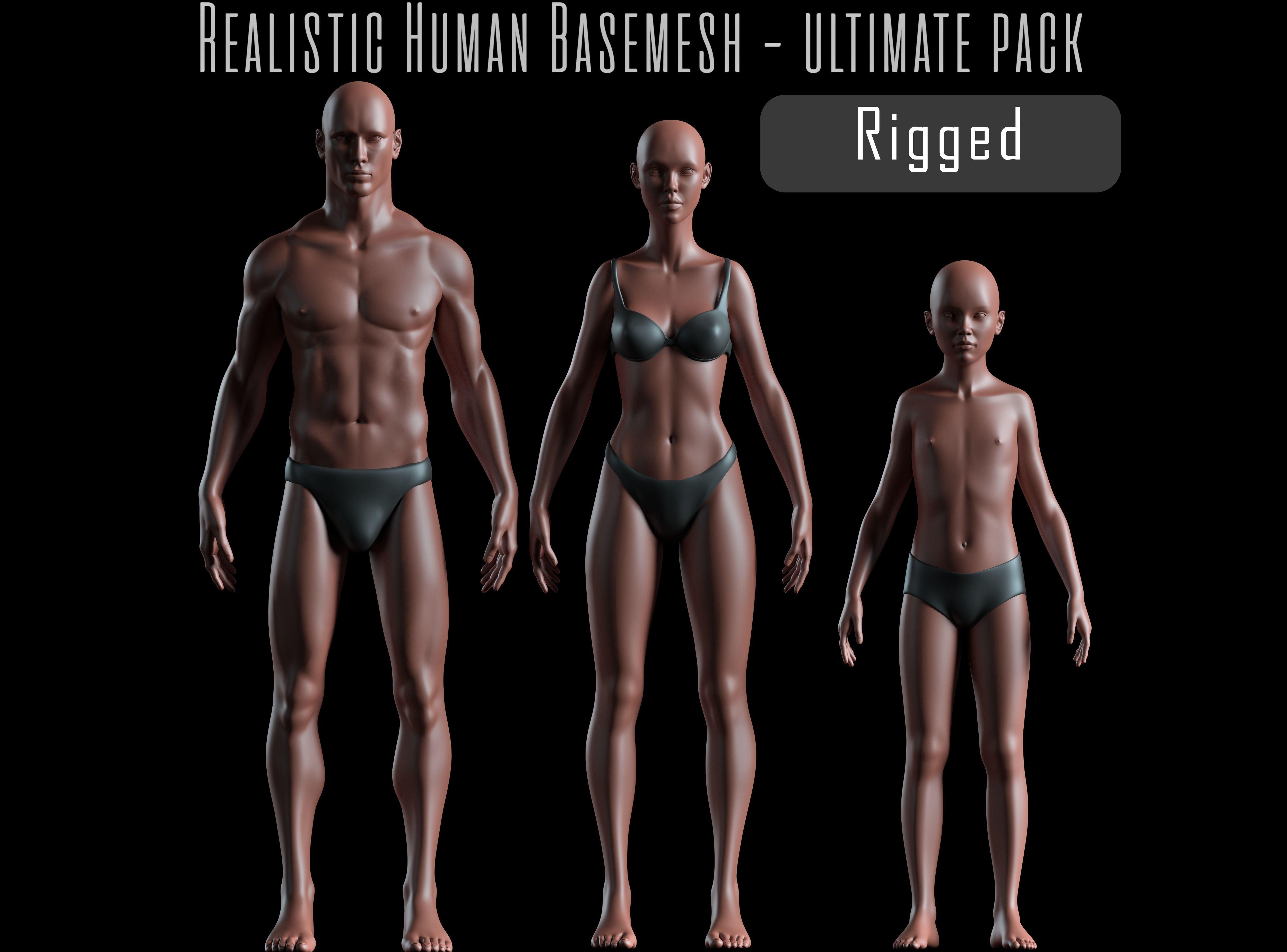 Realistic Human Body Basemesh - UVMapped - Rigged