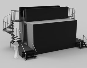 3D model Two Level Stage with Coil Stairs