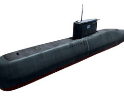 3d model game-ready preveze class submarine 209 type 1400