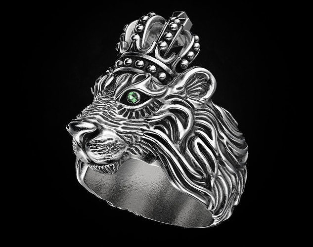 Stylish ring Lion with a crown 451