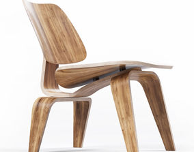 3D Eames Molded Plywood Lounge Chair with Wood Base