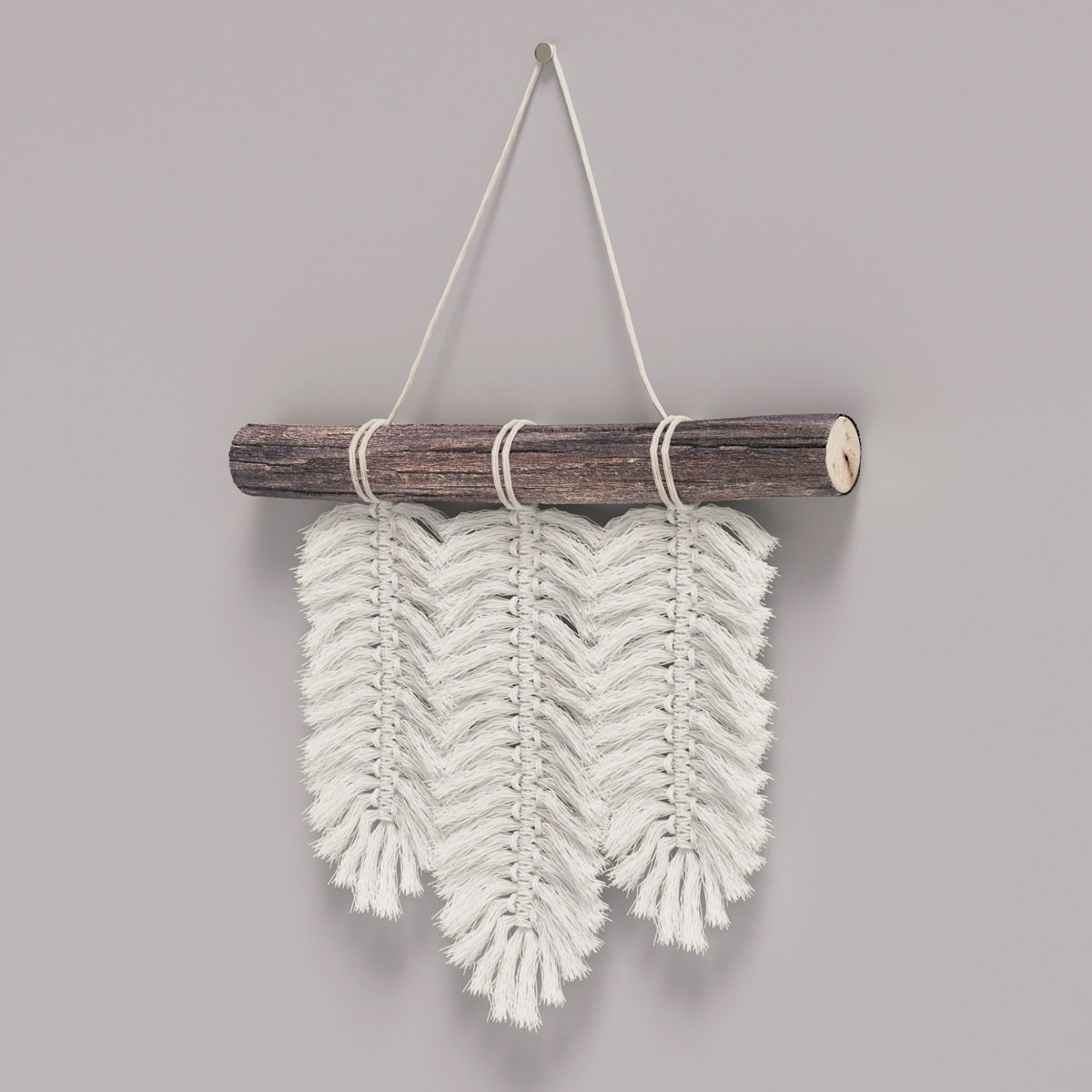 Small Macrame Wall Hanging Feathers | 3D model