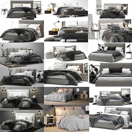 colection bed - 10 models 3d model max obj mtl 3ds fbx mat 1