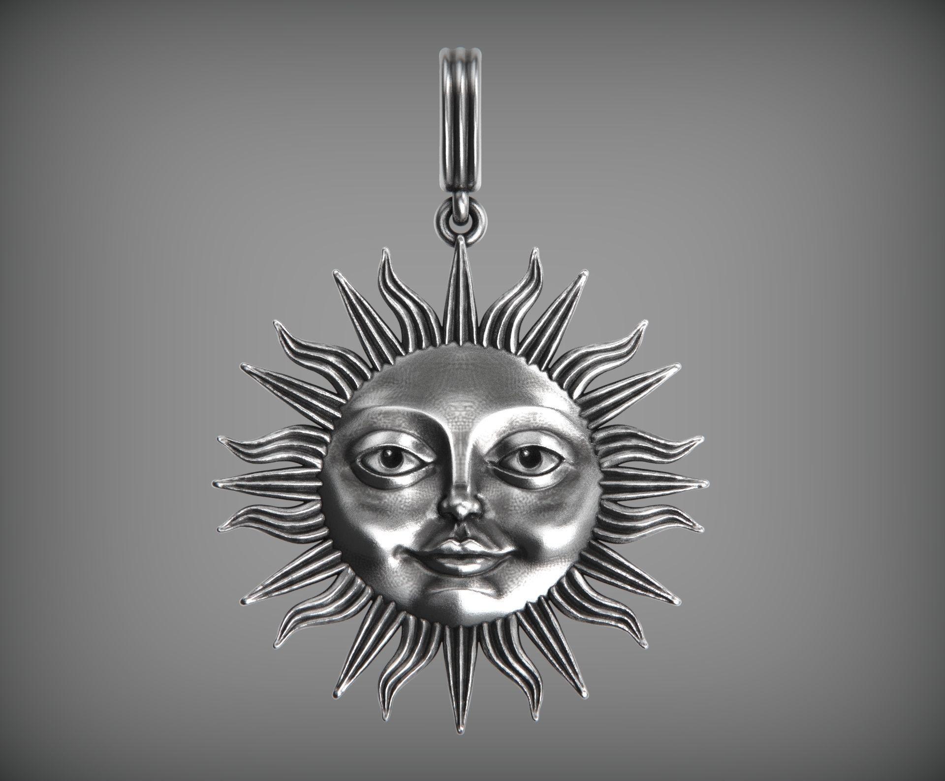 Sun face pendant