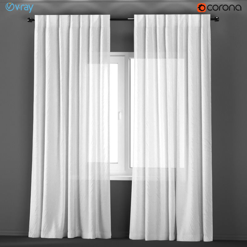 White transparent curtains from flax 3D model | CGTrader