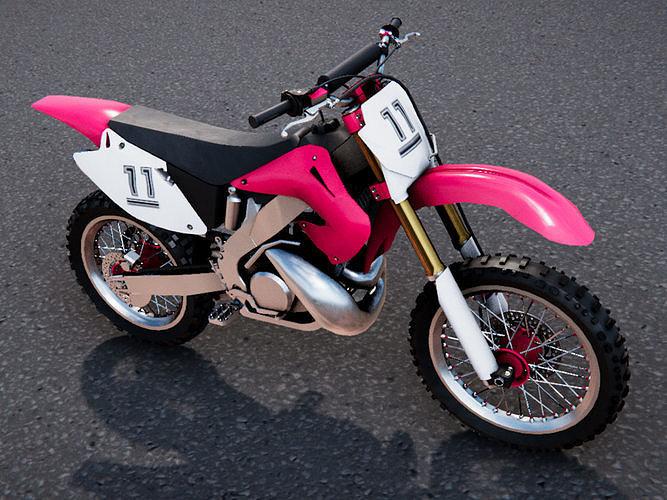 low poly pbr motocross bike 3d model fbx ma mb tga unitypackage prefab 1
