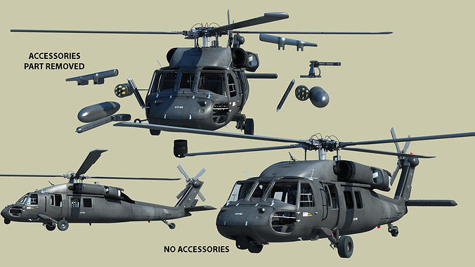 army uh 60 black hawk helicopter 3d model max obj mtl fbx c4d ma mb 1