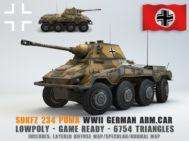World War 2 German 234//2 armored car