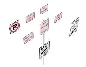 3D model Road Sign US R8 Series Parking And Emergency 1